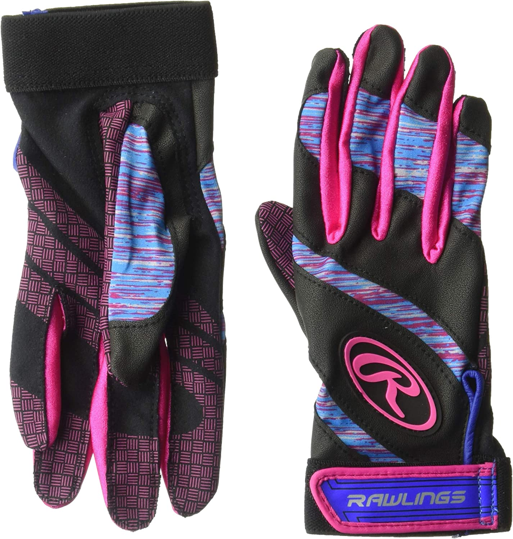 Rawlings FPEBG-PK-89 Rawings Eclipse Batting Gloves, Blue/Pink