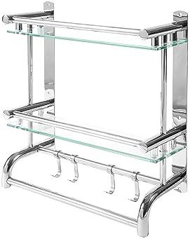 Size : 25CM de Acero Inoxidable Acabado Cromo ZfgG Cuarto de ba/ño Estante de Vidrio Templado Estante de Vidrio con Wall Riel