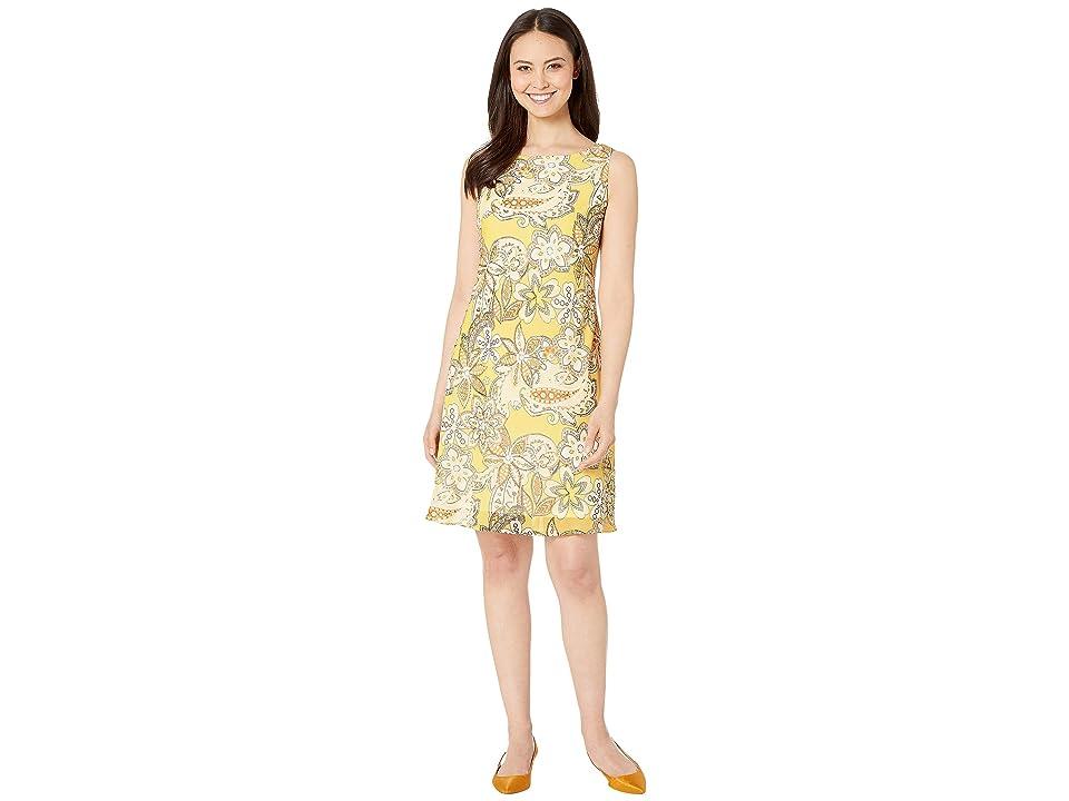 Nine West Chiffon Sleeveless Bias Cut Trapeze Dress (Sunbeam Multi) Women