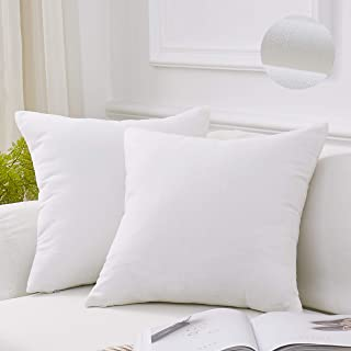 MoMA Decorative Throw Pillow Covers (Set of 2) - Pillow Cover Sham Cushion Cover - Throw Pillow Cover - Sofa Throw Pillow Cover - Square Decorative Pillowcase - White - 18