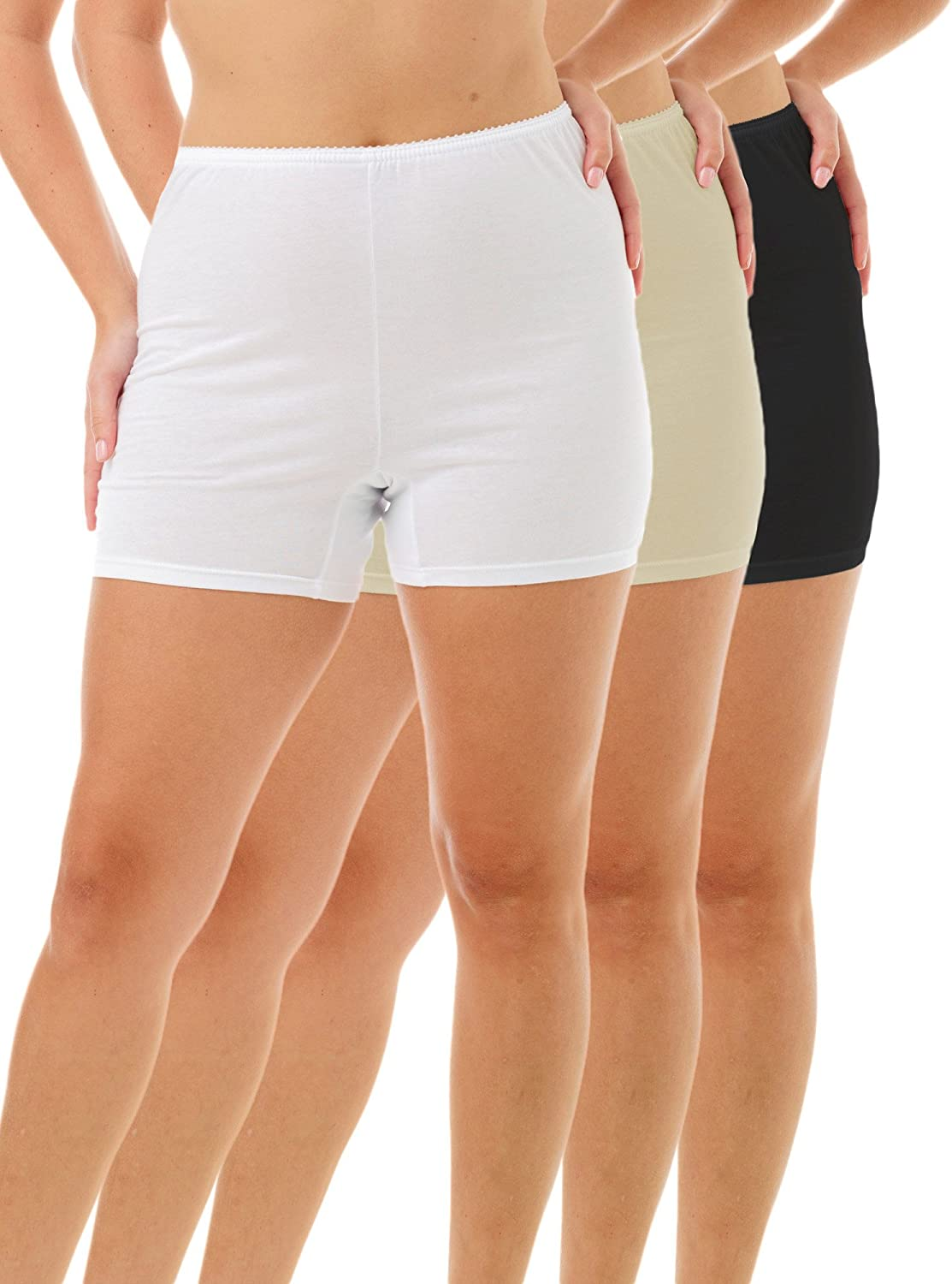 Underworks USA Womens 100/% Cotton Cuff Leg 5-inch Inseam Bloomers Pettipants 3-Pack