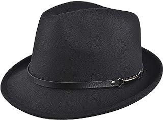 EINSKEY Womens Felt Fedora Hat, Wide Brim Panama Cowboy Hat Floppy Sun Hat for Beach Church - - One Size