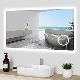 Acezanble Miroir de Salle de Bain 120cmx70cm avec LED 3 Couleurs et luminosité réglables + Anti-buée + Miroir grossissant...