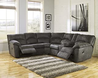 Signature Design by Ashley Tambo Fabric Reclining Sectional in Pewter
