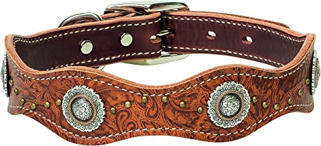 Western Style Yellow Blue Black White Navajo Beaded Tooled Handmade Canine Leather Dog Collar 2 Wide