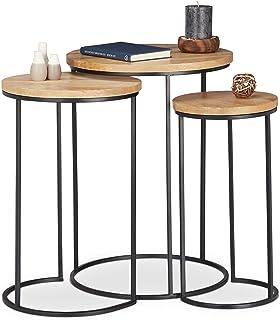 Relaxdays, nature basse lot d'appoint rondes, Table de chevet 3 tailles, En métal et bois de manguier, fer, 3