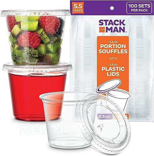 [100 Sets - 5.5 oz.] Plastic Cups with Lids, Clear Portion Cups, Disposable Snack Cups, Yogurt Cups, Parfait Cups, Pu...