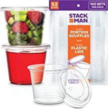[100 Sets - 5.5 oz.] Plastic Cups with Lids, Clear Portion Cups, Disposable Snack Cups, Yogurt Cups, Parfait Cups, Pudding...