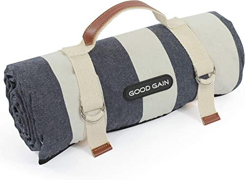 Good Gain Waterproof Picnic Blanket Portable with Carry Strap for Beach Mat or Family Outdoor Camping Party, Extra La...