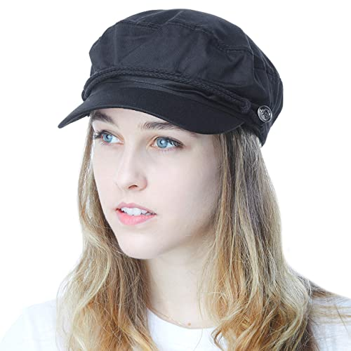 0b1a0312d7c THE HAT DEPOT Black Horn Unisex Cotton Greek Fisherman s Sailor Fiddler Hat  Cap