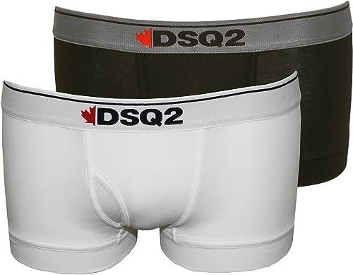Dsquarouge2 2-Pack Demi-érable Logo Hommes Malles Boxer, Blanc Noir