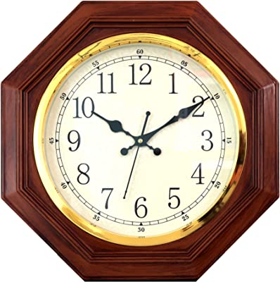 Sapphire Woden Finish Plastic Analogue Wall Clock (30cm X 30cm) (Brown)