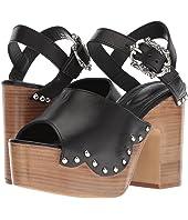 Wood Heel Leather Sandal