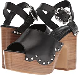Wood Heel Leather Sandal