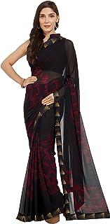 Mirchi Fashion Women's Faux Georgette Printed Saree (7231_Black_ Free Size)