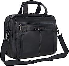 """Kenneth Cole Reaction Colombian Leather Dual Compartment Expandable 15.6"""" Laptop Portfolio, Black"""