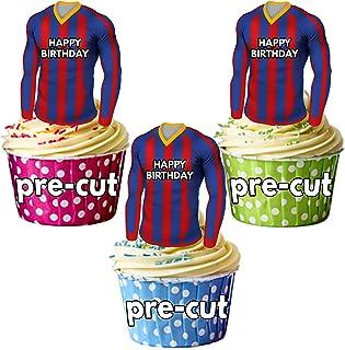 AK Giftshop - Comestibles de camisetas de fútbol para cupcakes o tartas de cumpleaños, diseño de rayas azules y rojas (12 unidades)