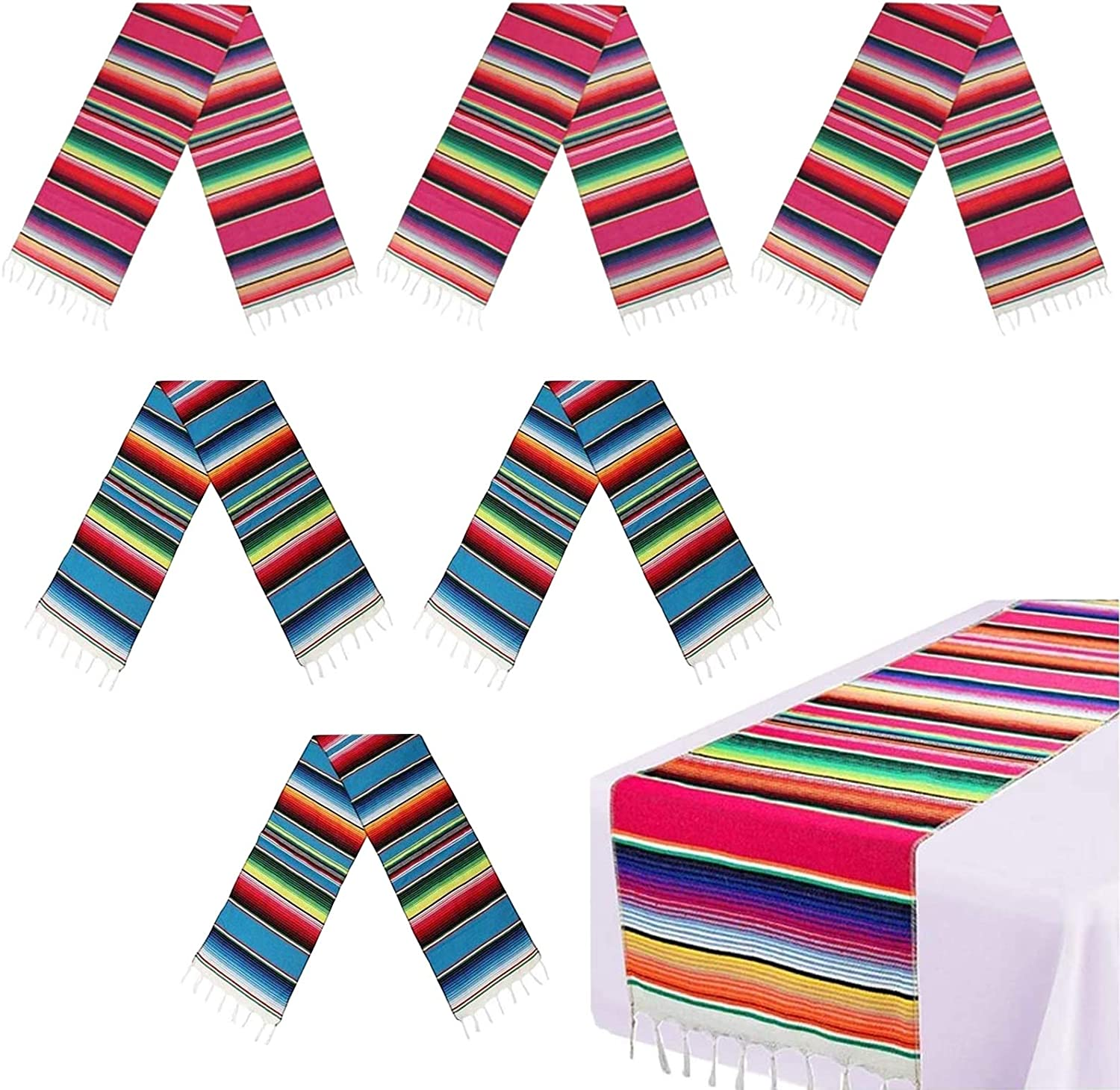 6 Pack Mexican Table Runner 14 Serape Super popular specialty store Inches Blanket 108 x Deluxe Color