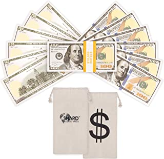 Shard Global Fake Money 100 Dollar Bills, Realistic Quality Movie Prop Money with Dollar Bag, Double Sided Fake Money Used for Music Videos, Prank Money, Teaching and Parties