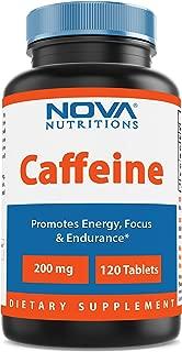 Nova Nutritions Caffeine 200 mg 120 Tablets - uncoated tablet