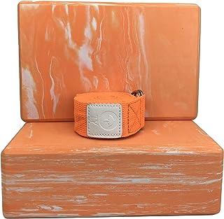 Teeyar ヨガブロック(ヨガぶろっく) 2個セット 【難しいポーズの補助に!】【本当の高密度220g】厚さ7.6cm と ヨガストラップ(ヨガベルト) 184cm (2年保証) (Yoga block strap set)