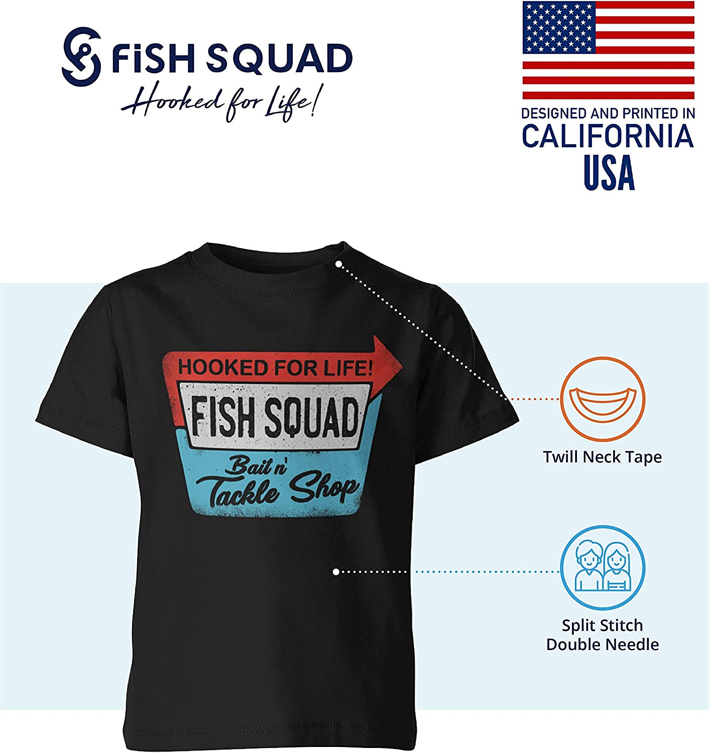 Fish Squad Graphic Tees for Kids - Youth Short Sleeve Fishing Tee Shirts for Boys & Girls - Unisex - Durable Print Design