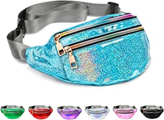 Fanny Pack Belt Bag, Holographic Fanny Packs for Women Men Kids, Fashion Waterproof Waist Pack with 3 Pouches Adjustable S...
