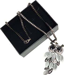 Owl Necklace Bohemian Style - Silver Stainless Steel Casting opal + Elegant Packaging