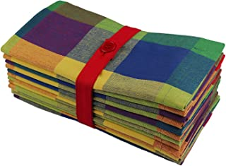 COTTON CRAFT - Tahoe Big Checks Multi Color Dinner Napkins - 12 Pack - 100% Cotton - Tailored with Mitered Corners