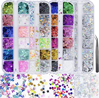 4 Boxes Holographic Nail Sequins Shapes Mixed Iridescent Nail Glitter Flakes Butterfly Hearts Star DIY Design Manicure Dec...