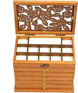 Boîte à bijoux vintage en bois 6 couches Marron