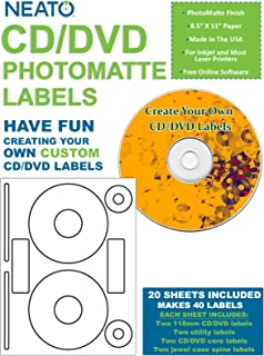 Neato CD/DVD PhotoMatte Labels – 20 Sheets – Makes 40 Disc Labels Total