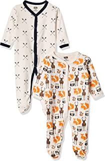 Hudson Baby Baby Cotton Sleep and Play, Cream Forest, 0-3 Months
