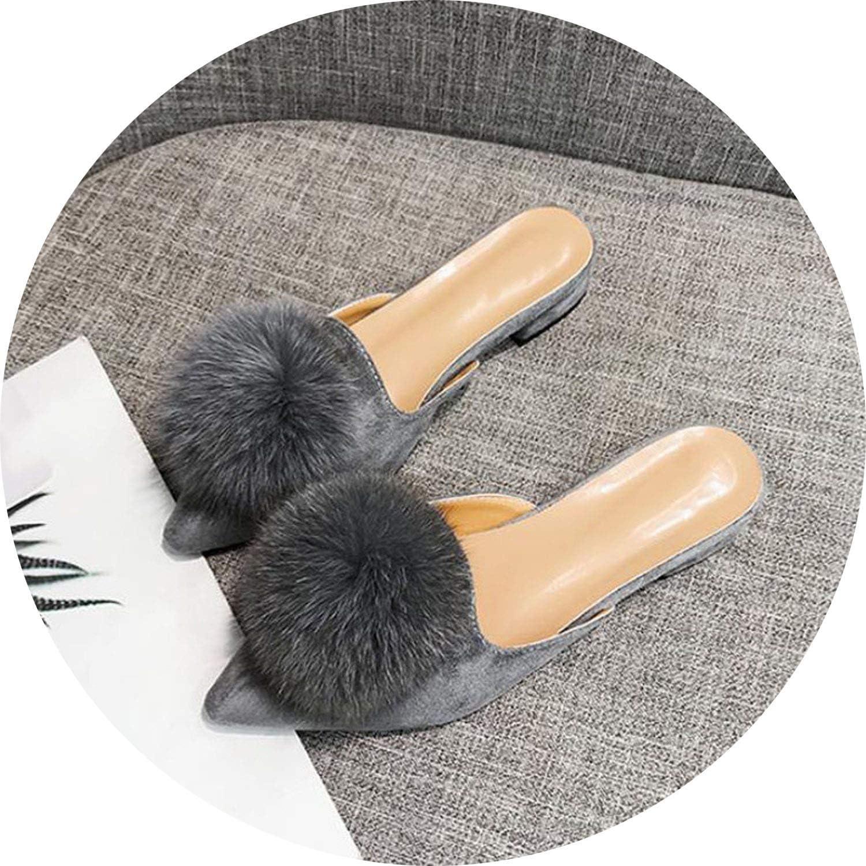 FINDYOU Pointed Toe Women's Slippers Fur Ball Autumn Low Heels Fashionable Female's Footwear