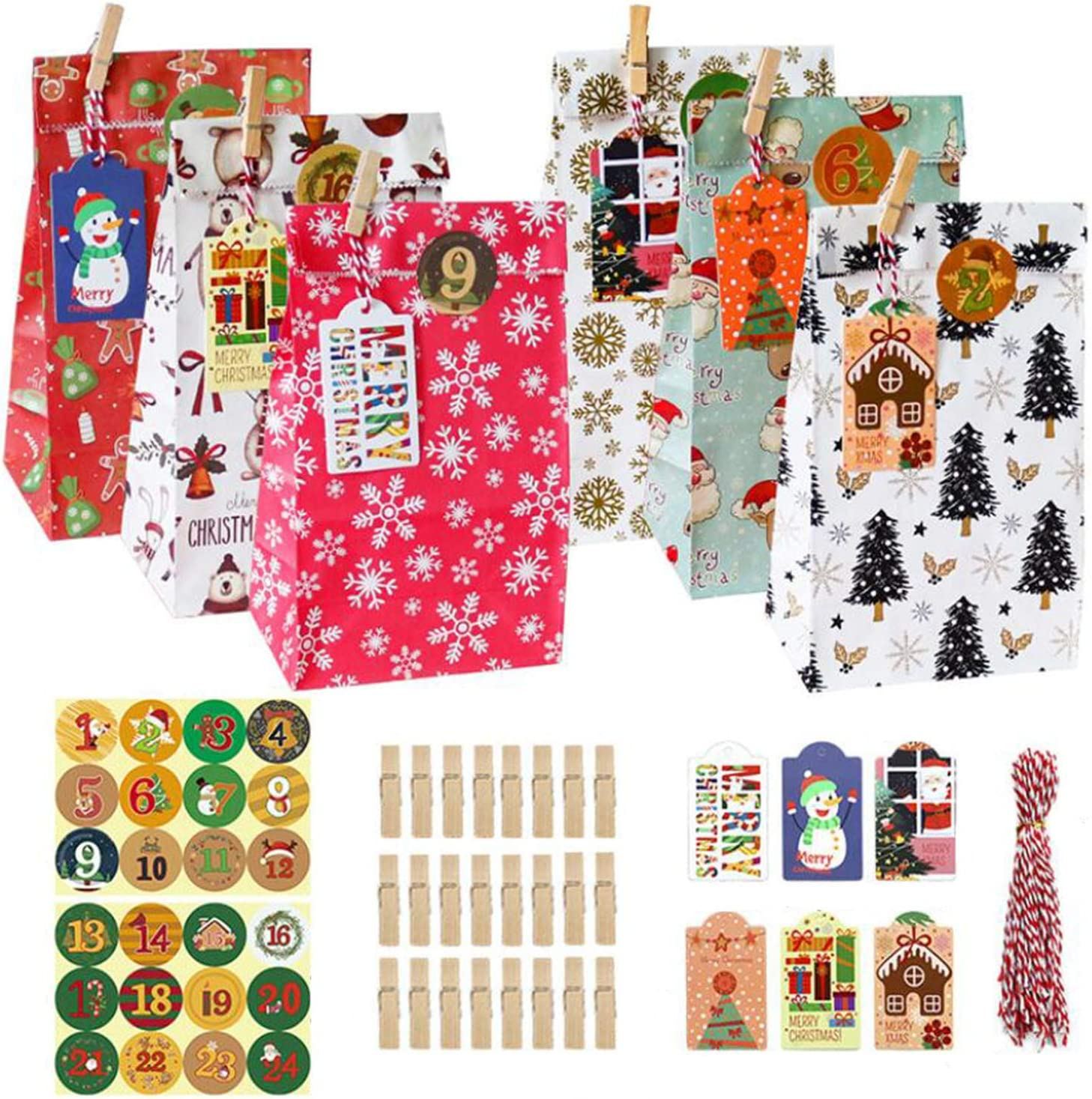 ZZIYEETTM Christmas Kraft Paper Gift Bags Xmas Stickers Set Candy Food Cookies Packing Paper Bags Gift Wrapping Bags Set (B)