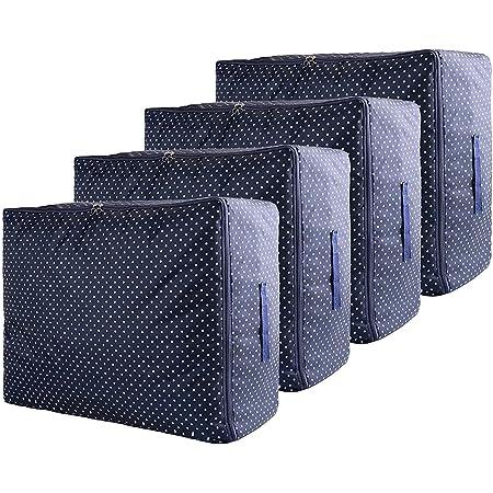 ZCHI Sac de Rangement Vetement Lot de 4, Sac de Rangement sous Lit avec Poignée pour Couette Vêtements Édredons Couvertures Oreillers Jouets, Bleu