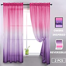 Aurora Sky Themed Gradient Two Tone Ombre Curtains - Purple and Pink Sheer Curtains for Girls Room Kids Bedroom Baby Nursery Teen Toddler Little Princess Closet Backdrop Light Lavender Lilac 2 Panels