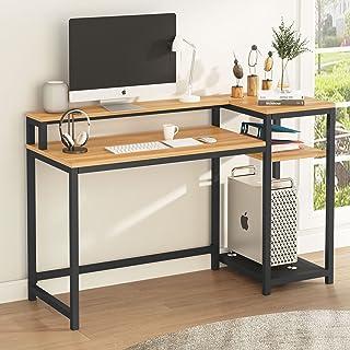 Tribesigns Bureau d'ordinateur avec Etagère de Rangement, Support d'écran, Industriel Table d'étude, Table de Travail en B...