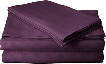 """Elegant Comfort Best, Softest, Coziest STRIPE Sheets Ever! 1500 Thread Count Egyptian Quality Luxury Silky-Soft Wrinkle & Fade Resistant 4-Piece Bed Sheet Set, Deep Pocket Up to 16"""" -King Purple"""