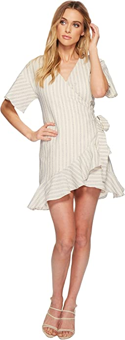 Flared Wrap Dress with Ruffle Hem
