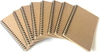 VEEPPO Kraft Brown Cardboard Cover Brown Blank Paper Small Spiral Blank Notebooks Sketch Pad and Journals 4/8 Bulk Pack 100g Thick Cream White Paper 12x18cm / 4.72 x 7.08inch (Brown Page-Pack of 8)