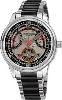 Akribos XXIV Skeleton Men's Watch – Mechanical See Through Dial - Retro-Grade Day and Date and Open Heart with Faux Tourbillon Flywheel On Stainless Bracelet - AK1101