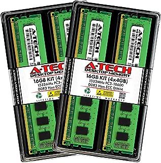 A-Tech 16GB (4 x 4GB) DDR3 1333MHz PC3-10600 Desktop RAM Kit | Non-ECC Unbuffered DIMM 240-Pin Memory Upgrade Modules