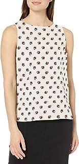 Marca Amazon - Lark & Ro – Camiseta sin mangas para usar en capas para mujer, cuello redondo y cuello en V