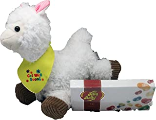 Get Well Llama Plush - Get Well Gift Set with Jelly Belly Jelly Beans 2 Piece Set - Comes in an organza bag so it's ready for giving!