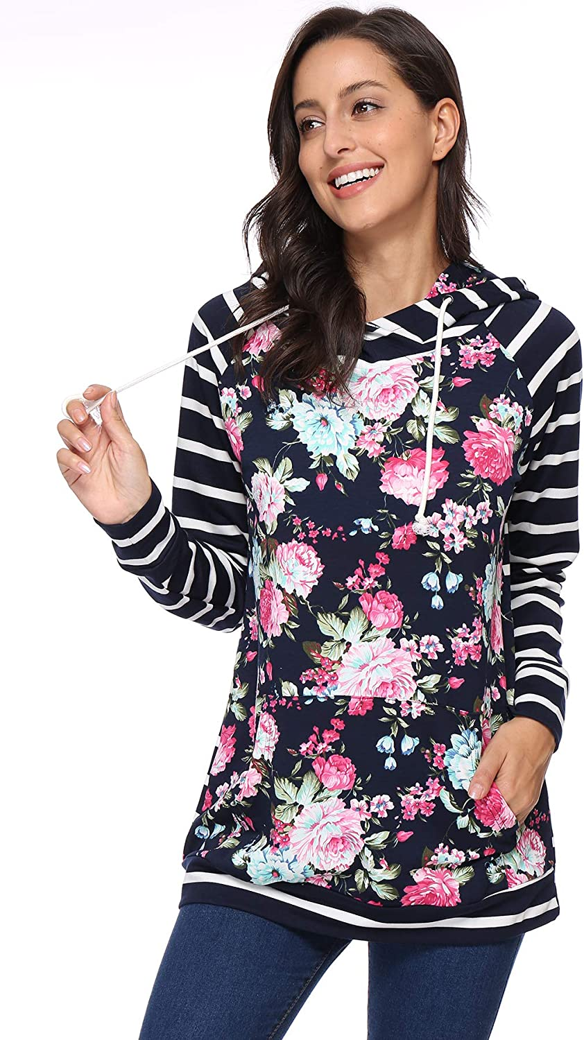 XQT Plus Size Hoodies for Women Pullover Floral Printed Long Sleeve Drawstring Sweatshirt with Pockets