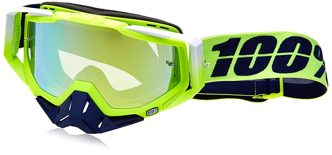 100% 50110-191-02 Unisex-Adult Tanaka Racecraft MX Motocross Goggles With Mirrored Lens (Blue/Green,One Size Fits Most)