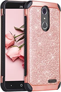 ZTE Grand X4 Case,  ZTE Blade Spark Case, ZTE Grand X 4 Case, BENTOBEN 2 in 1 Sparkly Glitter Slim Hybrid Hard Cover Shockproof Protective Case for ZTE Grand X4/ZTE Blade Spark (Z971) /ZTE Z956, Rose Gold