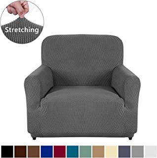 AUJOY Chair Cover Stretch 1-Piece Couch Slipcover Jacquard Spandex Fabric Sofa Furniture Protector with Anti-Slip Foams (Chair, Dark Gray)