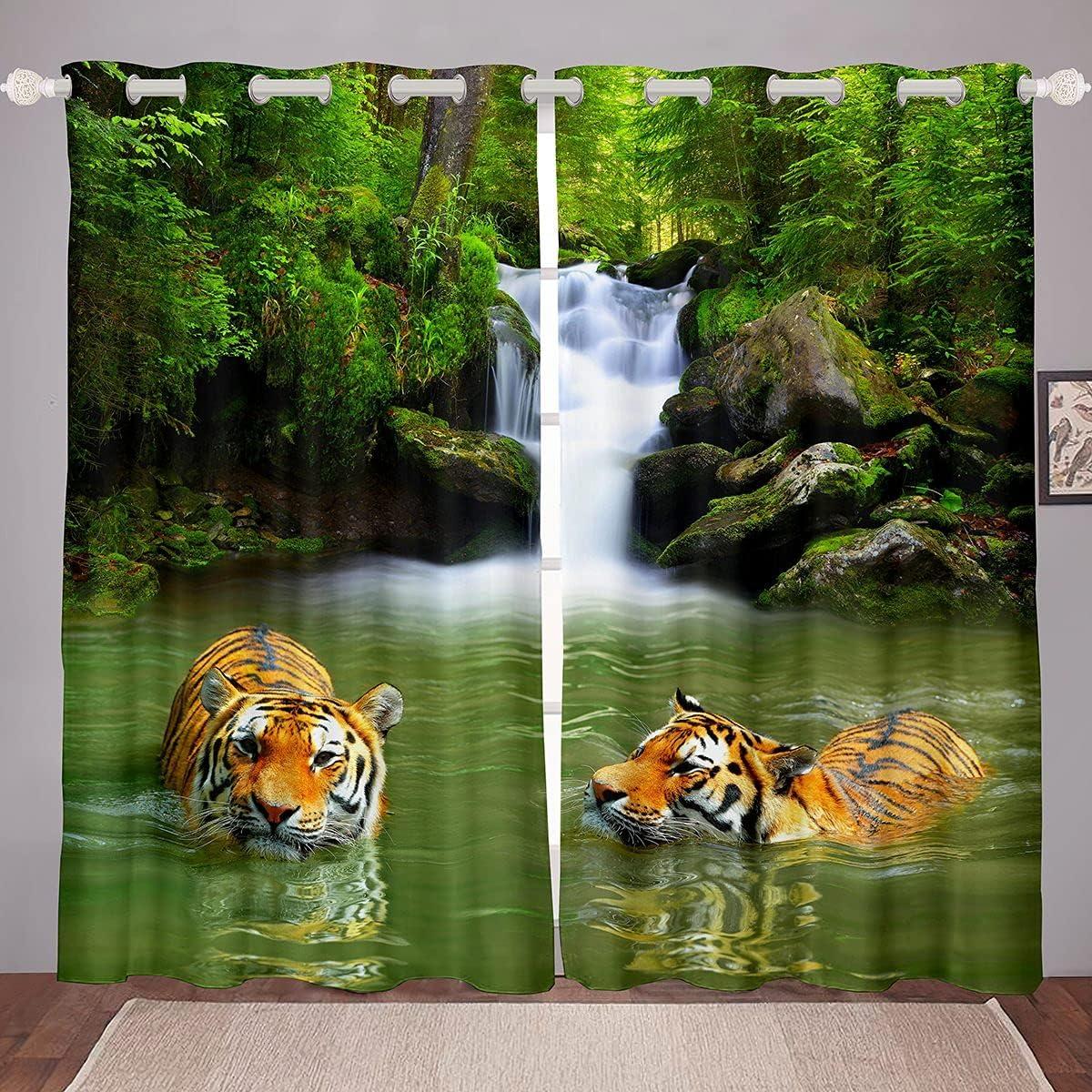 ブランド激安セール会場 Tiger Window Curtains Waterfall Natural Curtain For 付与 K Landscape